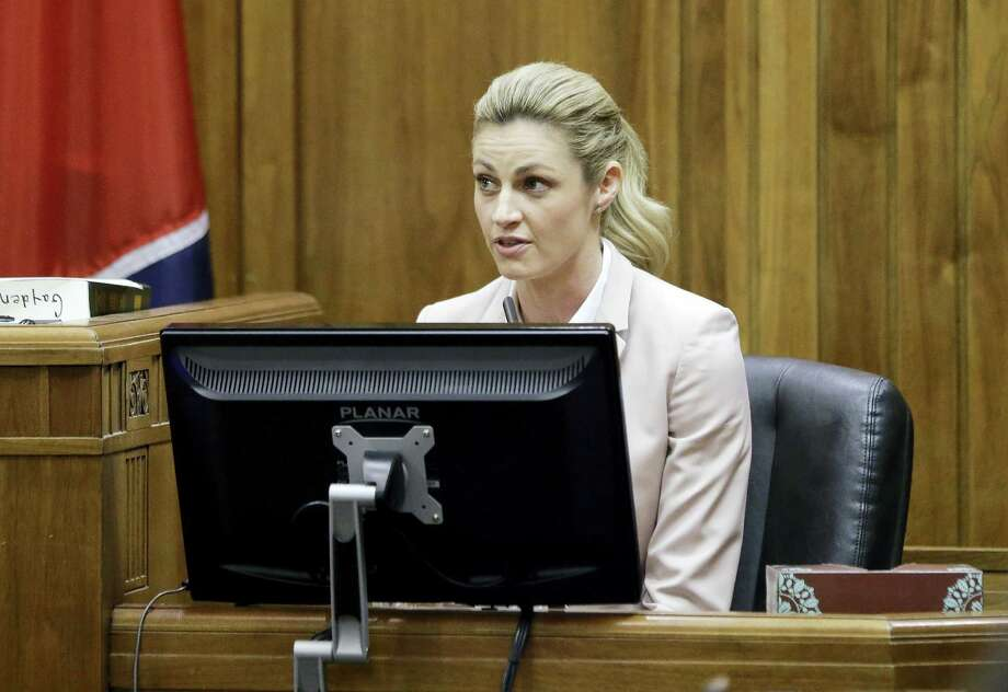 Sportscaster and television host Erin Andrews is cross-examined Tuesday in Nashville, Tenn. Andrews has filed a $75 million lawsuit against the franchise owner and manager of a luxury hotel and a man who admitted to making secret nude recordings of her in 2008. Photo: The Associated Press   / AP Pool