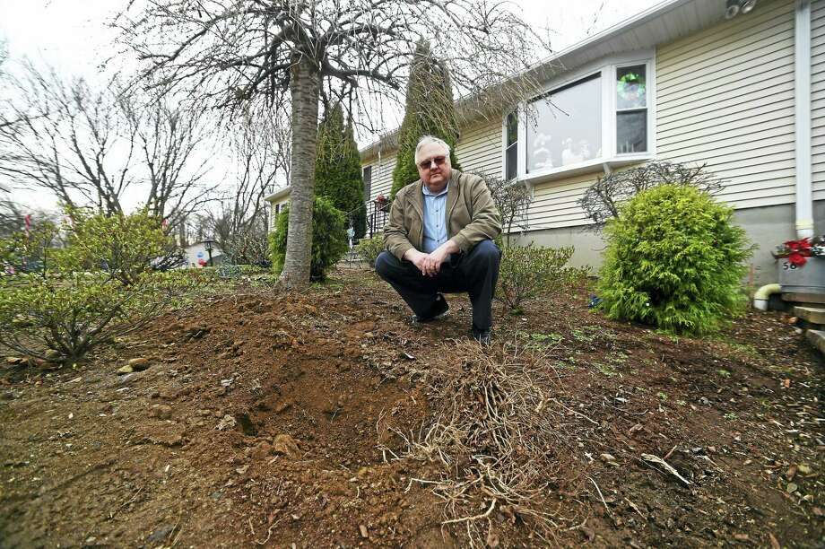 Paul Wetowitz near the water well cover at his David Road home in Seymour, where the water was found to have highly elevated levels of arsenic. Photo: Peter Hvizdak — New Haven Register   / ©2015 Peter Hvizdak