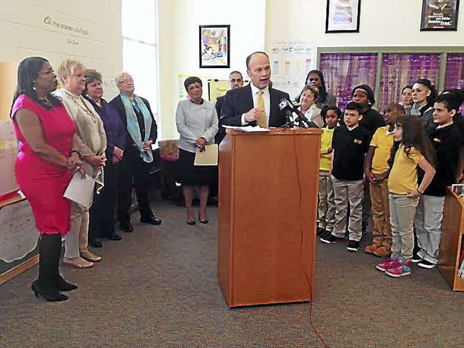 Superintendent of Schools Garth Harries announces Saturday academies at four schools Thursday afternoon. Photo: Brian Zahn — New Haven Register