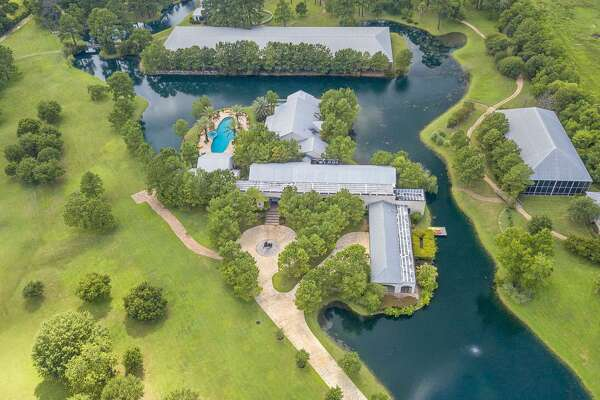 An aerial view of 19051 Hufsmith Kohrville Road in Tomball. The property is for sale for $13.75 million.