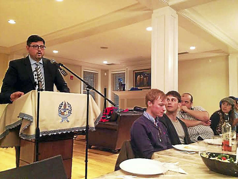 Csanád Szegedi addresses students at Chabad at Yale. Photo: Brian Zahn — New Haven Register