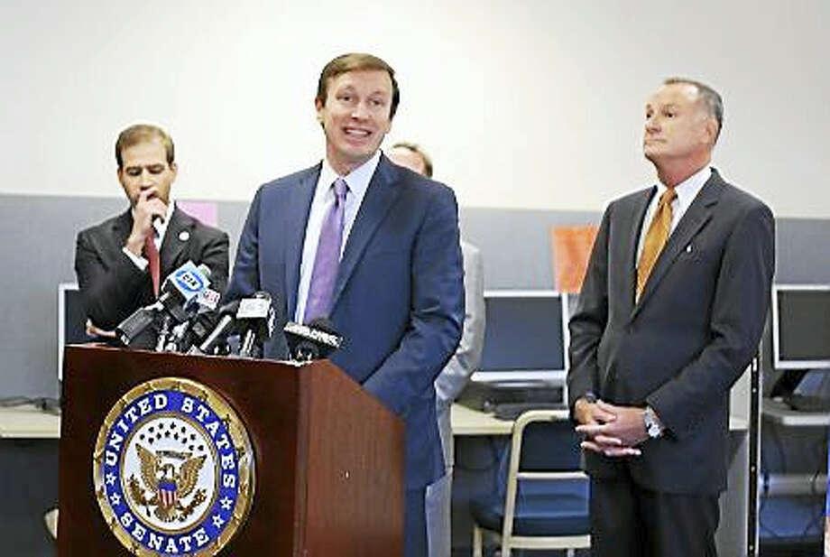 U.S. Sen. Chris Murphy, Hartford Mayor Luke Bronin and Acting Labor Commissioner Dennis Murphy Photo: Courtesy CT News Junkie