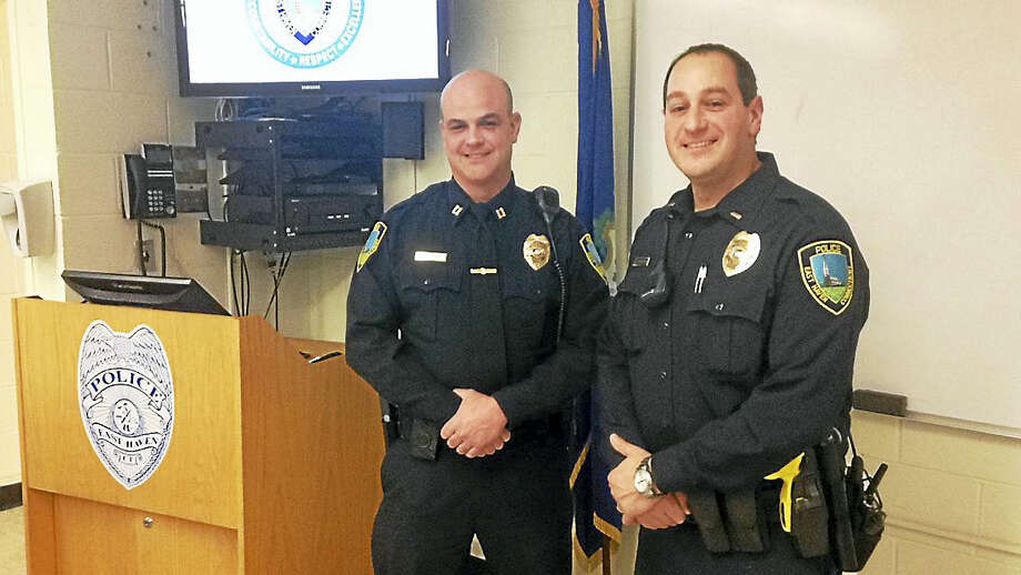 Captain Joe Slane and Lieutenant David Emerman at the East Haven Police Headquarters Wednesday. Photo: Juliemar Ortiz — New Haven Register