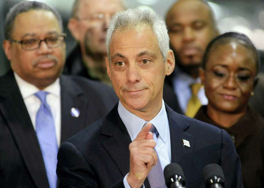 Chicago Mayor Rahm Emanuel speaks at a news conference Tuesday, Jan. 5, 2016, in Chicago where he announced an expansion of the CTA's successful Second Chance Program. After the news conference, Emanuel told reporters he has confidence in Stephen Patton, the head of Chicago's law department, following the resignation of a top city attorney who was accused of hiding evidence in a fatal police shooting lawsuit. Photo: Brian Jackson/Chicago Sun-Times Via AP   / Chicago Sun-Times