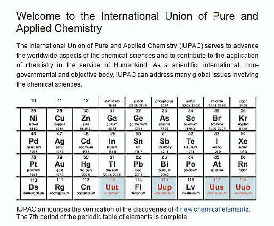 Four new elements, highlighted in blue, have been added to the periodic table. (Screenshot via iupac.org) Photo: Journal Register Co.
