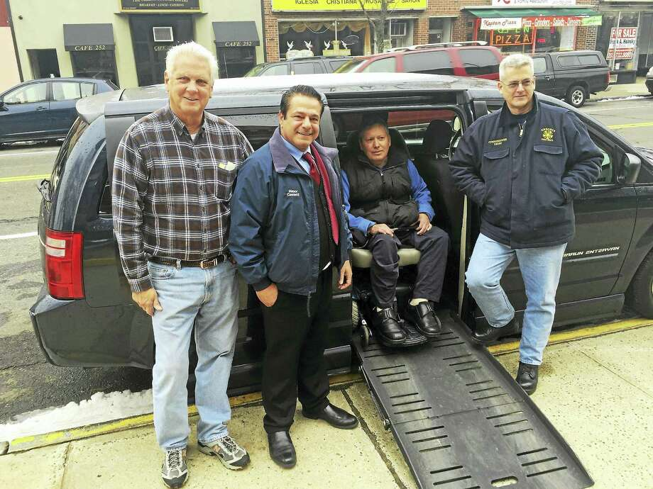 From left, Ansonia Alderman Lorie Vaccaro, Mayor David Cassetti, resident Ralph Villers and Alderman Pat Henri. Photo: Contributed Photo
