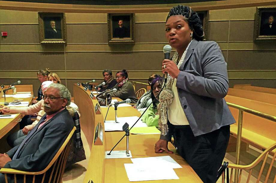 New Haven Aldermanic President Tyisha Walker, D-23, speaks after being re-elected Monday at City Hall. Photo: Esteban L. Hernandez — New Haven Register