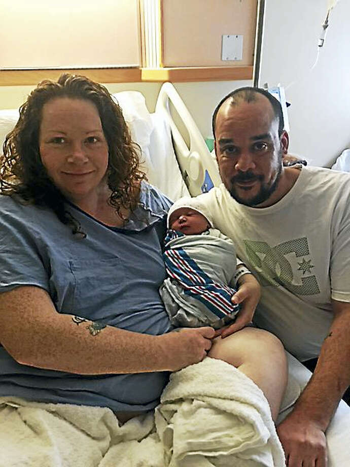 From left to right: Julie Batts, daughter Rylie Ellen Batts and Brian Batts at Yale-New Haven Hospital. Rylie was the first born at Yale-New Haven in 2016. Photo: Contributed Photo