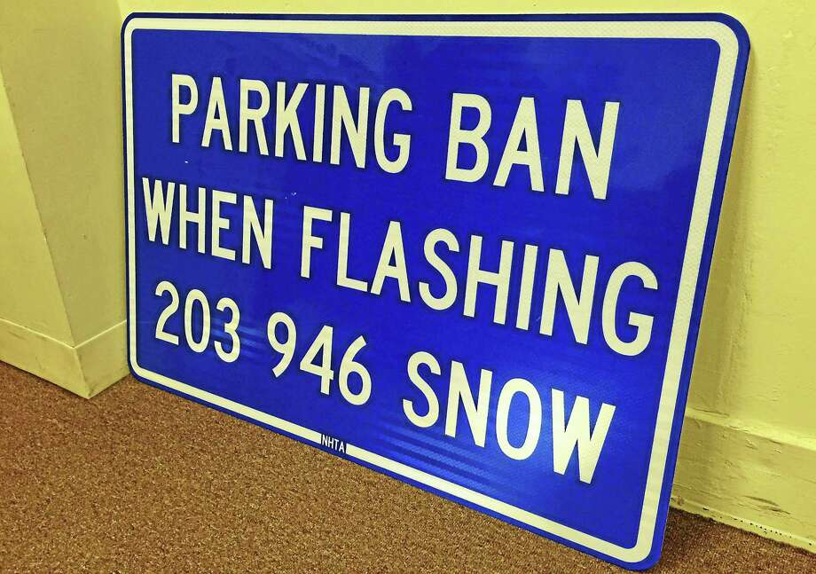 A sign set to be installed at 22 locations in the city sits at the New Haven Transportation, Traffic and Parking Department offices on Wednesday, Dec. 30, at 200 Orange St. Photo: Esteban L. Hernandez — New Haven Register