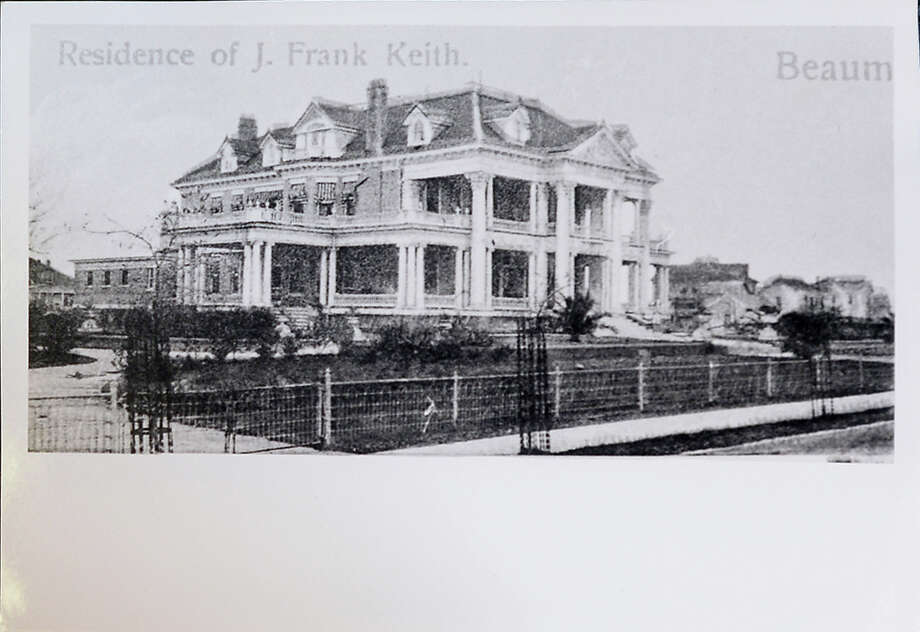 The J. Frank Keith House, which was the mansion lived in by the Keith family, who were the owners of the pre-Spindletop established Keith Lumber Company, was located in the 2200 block of Calder Avenue in Beaumont. Among its many amenities was the first residential swimming pool in Beaumont and its parlor held performances by a local theater ensemble. The home was demolished in 1949. Photo courtesy of Tyrrell Historical Library, (Beaumont, Texas) the Gilbert Papers, MS 159 / Tyrrell Historical Library, Gilbert Papers, MS 159
