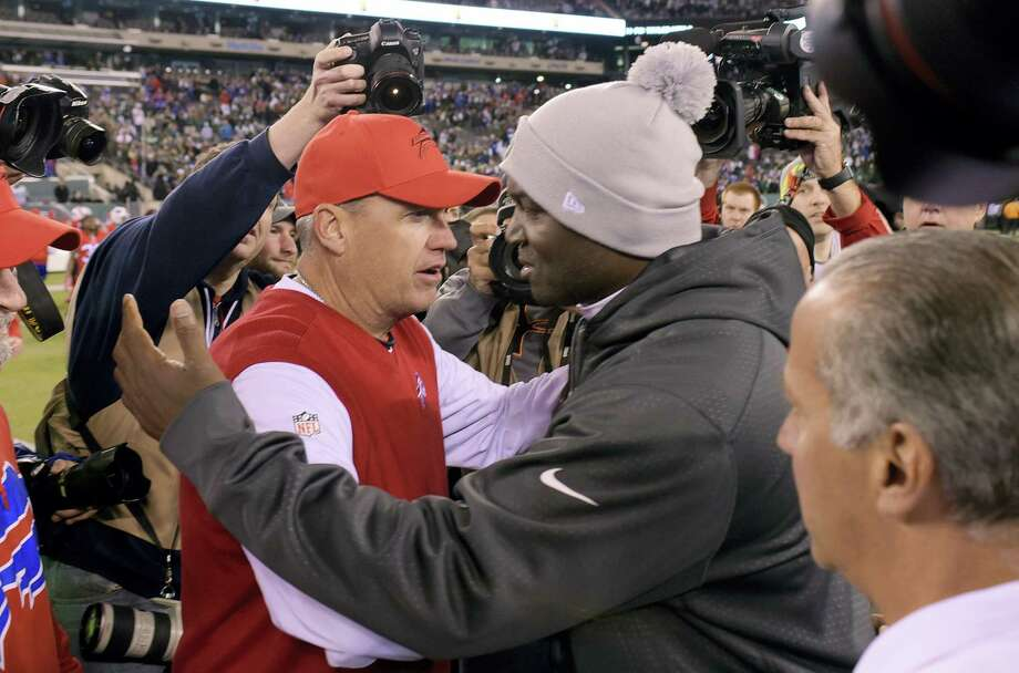 Bills coach Rex Ryan, left, won't have LeSean McCoy Sunday against Todd Bowles and the Jets. Photo: Bill Kostroun — The Associated Press File Photo   / FR51951 AP
