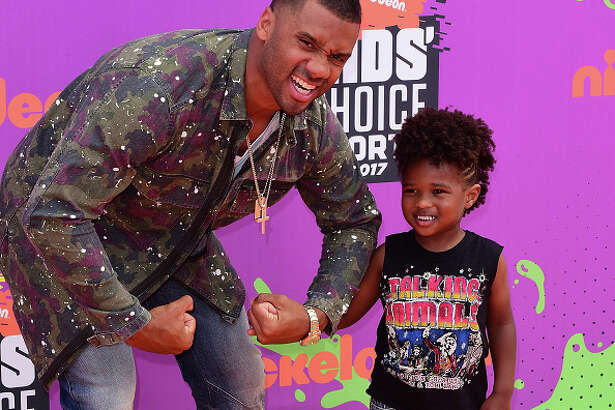 LOS ANGELES, CA - JULY 13:  Host Russell Wilson (L) and Future Zahir Wilburn attend Nickelodeon Kids' Choice Sports Awards 2017 at Pauley Pavilion on July 13, 2017 in Los Angeles, California.  (Photo by C Flanigan/Getty Images)