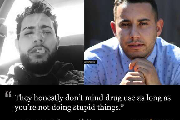 Left : Eddy Lozoya during his drug use days. (photo by Eddy Lozoya).  Right : Eddie Lozoya talks about his drug and alcohol abuse and rehab at The Springboard Center Thursday, June 29, 2017, in Midland. ( Steve Gonzales / Houston Chronicle )