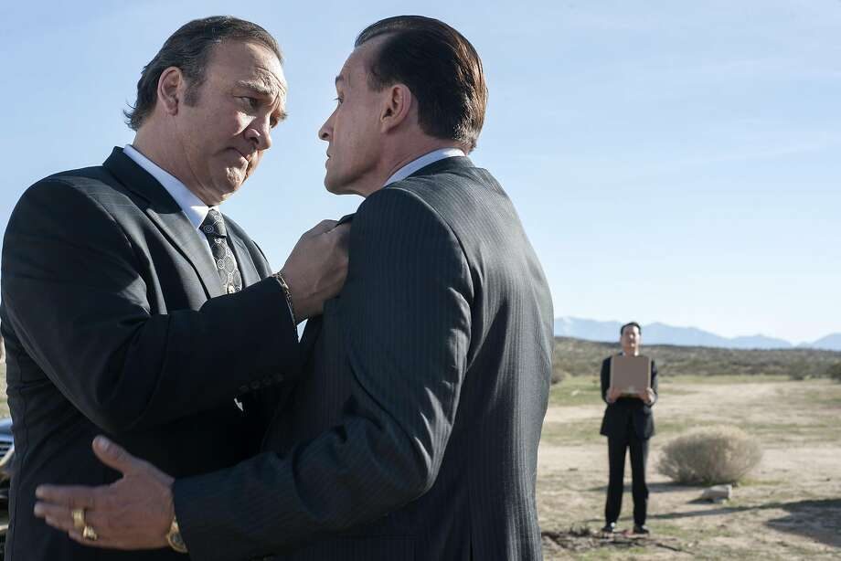 """The Mitchum Brothers (left,Jim Belushi and Robert Knepper) debate whether to kill Dougie Jones/Agent Cooper (Kyle MacLachlan) in """"Part 11"""" of """"Twin Peaks: The Return."""" Photo: Suzanne Tenner/SHOWTIME"""