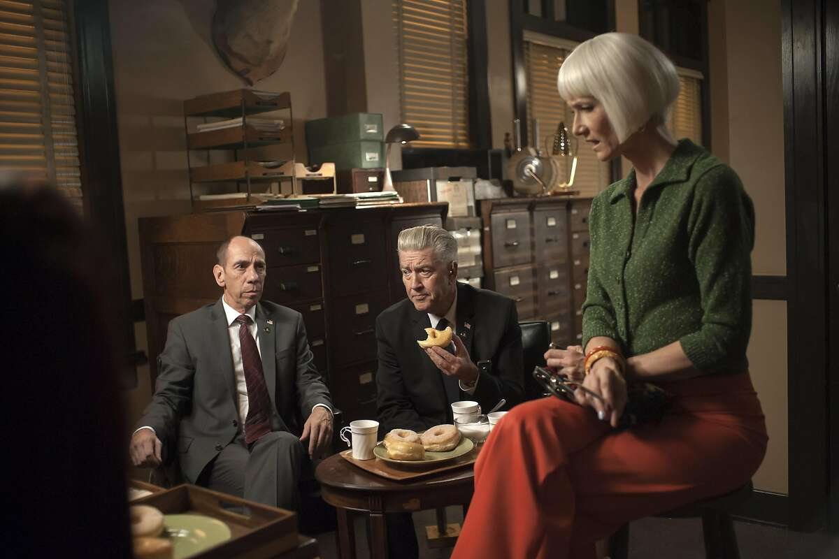 Miguel Ferrer, David Lynch and Laura Dern in a still from Twin Peaks.