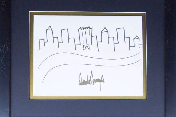 A sketch of the Manhattan skyline, featuring Trump Tower in the center and created and signed by the president in 2005, is up for auction.
