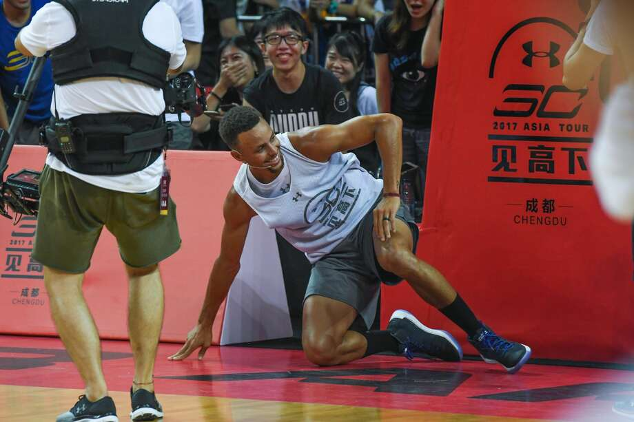 NBA star Stephen Curry of Golden State Warriors meets fans at University of Electronic Science and Technology of China on July 24, 2017 in Chengdu, China.  (Photo by VCG/VCG via Getty Images) Photo: VCG/VCG Via Getty Images