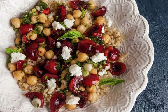 Warm Brown Rice and Chickpea Salad With Cherries makes a colorful lunch.
