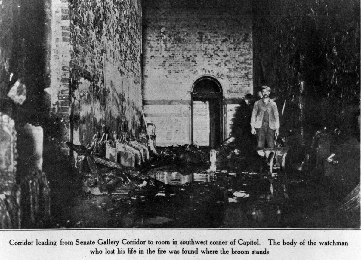 Damage inside a Senate Gallery Corridor where the body of Samuel Abbott, a watchman at the Capitol, was found following the 1911 Capitol fire in Albany, N.Y. (State Office of General Services)