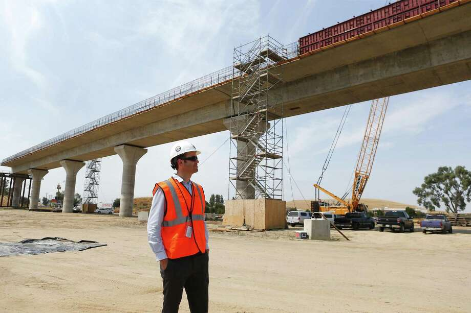 Robert Campbell, transportation engineer, California High-Speed Rail Authority, stands near the Cedar Viaduct under construction near Hwy 99 in Fresno, Calif., on Monday, July 10, 2017. Concerns about a similar raised high-speed rail along the East Coast will be discussed Wednesday at Greenwich Town Hall. Photo: Gary Reyes / TNS / San Jose Mercury News