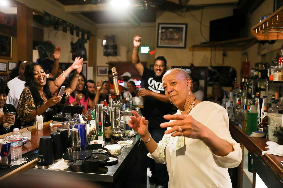 Cassie Nickelson, 80-year-old owner/chef of Scend's restaurant celebrating at her retirement party as seen in Emeryville, California on Saturday, July 22, 2017. Marshawn Lynch of the Oakland Raiders is planning to take over the restaurant sometime in the next month.