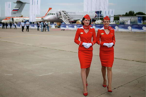 MOSCOW REGION, RUSSIA - JULY 18, 2017: Aeroflot flight attendants seen at the MAKS-2017 International Aviation and Space Salon in Zhukovsky, Moscow Region. Sergei Bobylev/TASS (Photo by Sergei Bobylev\TASS via Getty Images)