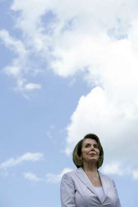 Senate Minority Leader Nancy Pelosi of Calif, joins Congressional Democrats as they unveil their new agenda, Monday, July 24, 2017, in park in Berryville, Va. (AP Photo/Cliff Owen)