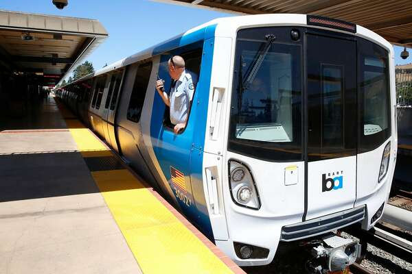 The train operator checks the platform as BART shows off one of their new trains to the media at the South Hayward station, Ca., as seen on Mon. July 23, 2017.