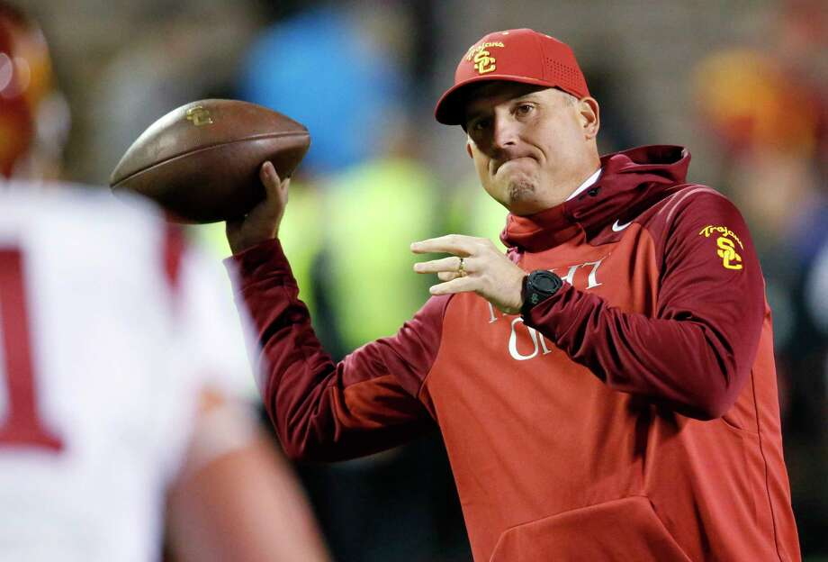 Southern California hired Clay Helton as its permanent coach on Monday, removing the interim tag after he guided the team to a division title since taking over for Steve Sarkisian. Photo: David Zalubowski — The Associated Press File Photo   / AP