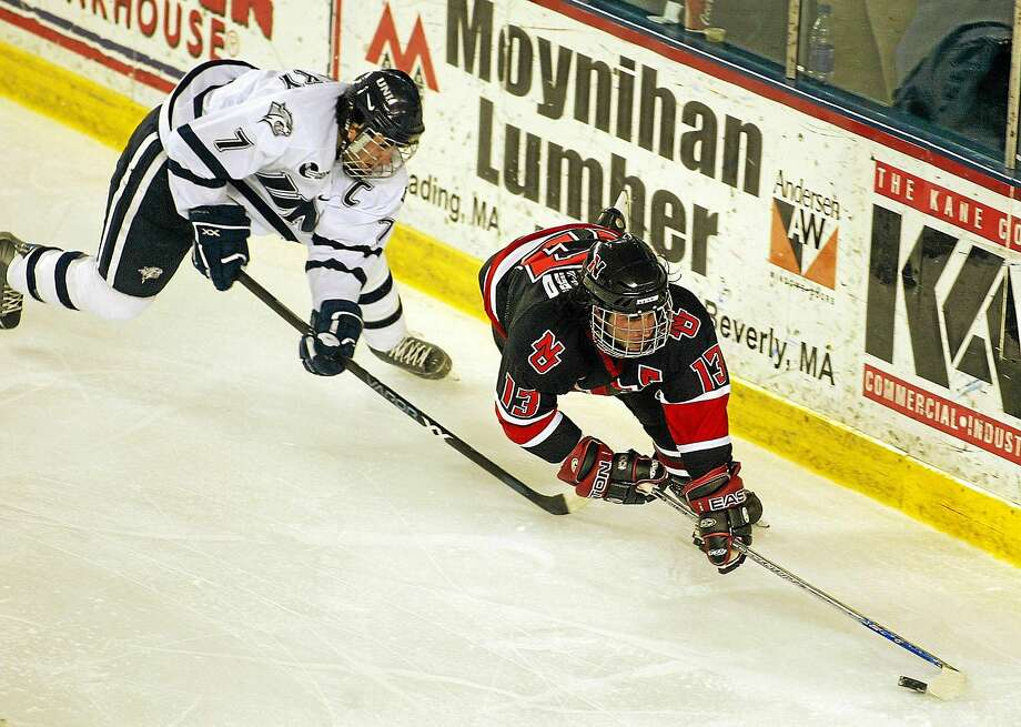 Yale assistant coach Jason Guerriero, right, shown here in 2005 while playing for Northeastern, will accept a job as an assistant at Brown. Photo: The Associated Press File Photo   / AP