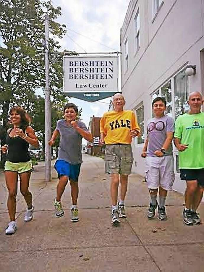 The Bershtein family, from left, Chay Bershtein, Hunter Bershtein, Herman Bershtein, Richard Bershtein Jr. and Richard Bershtein Sr. all will compete in the Faxon Law New Haven Road Race on Labor Day. Photo: CONTRIBUTED PHOTO