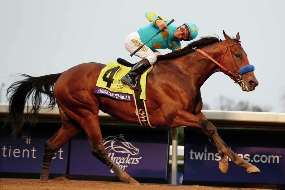 American Pharoah, with Victor Espinoza up, wins the Breeders' Cup Classic on Saturday at Keeneland in Lexington, Ky. Photo: Brynn Anderson — The Associated Press   / AP