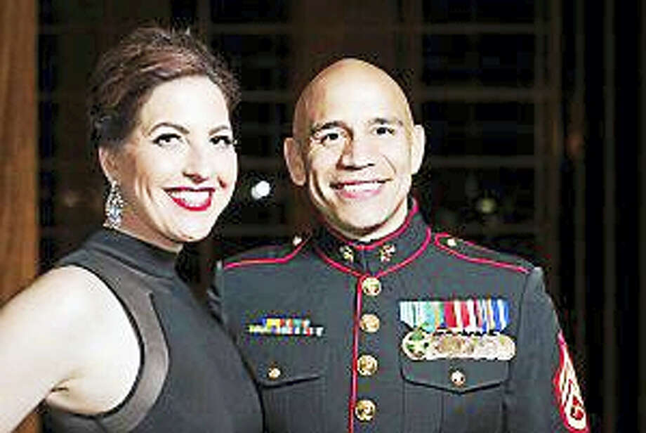 Mark Fayloga, a staff sergeant and Marine Corps reservist, shown here with his wife Erin at a Marine Corps Birthday Ball in November. He was diagnosed with cancer in December. Photo: Photo: Courtesy Mark Fayloga. / HANDOUT
