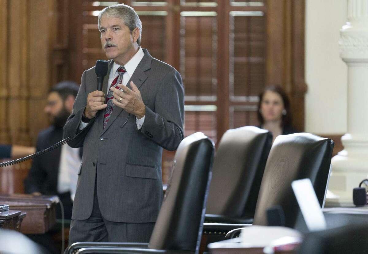 State Sen. Larry Taylor, Friendswood, speaks Monday on the Senate floor.