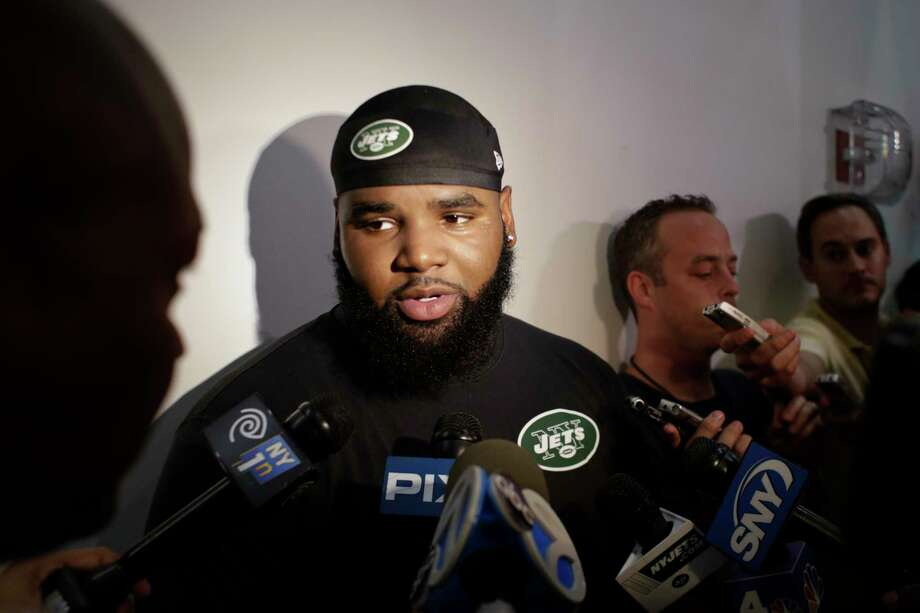 New York Jets defensive end Sheldon Richardson responds to questions during a news interview after practice at training camp, Thursday, July 30, 2015, in Florham Park, N.J. (AP Photo/Frank Franklin II) Photo: AP / AP