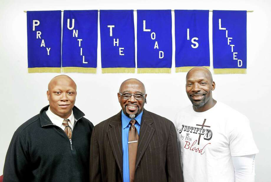 (Arnold Gold-New Haven Register)   Left to right, Roger Johnson, Apostle Eugene Brunson and Jerry Randall are photographed at Wayfaring Ministries in Hamden on 11/19/2015. Photo: Journal Register Co.