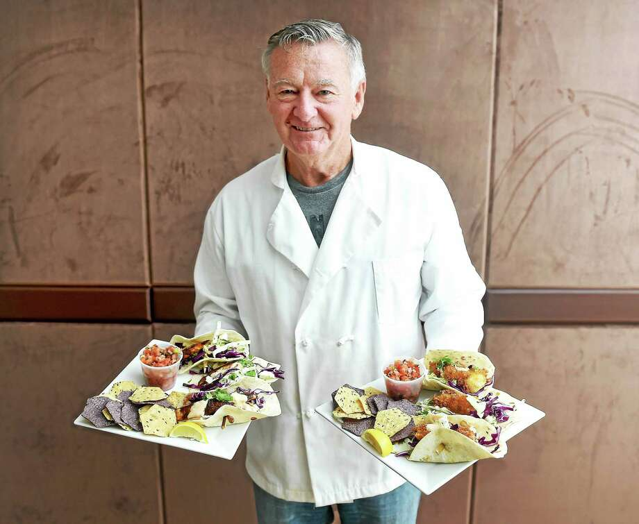 Dave McCoart, consulting chef for the Gateway Community College Foundation and former owner of Sage American Grill & Oyster Bar on South Water Street in New Haven, whipped up Fish Tacos at Cafe Vincenzo at Gateway Community College. Photo: Arnold Gold — New Haven Register Photos