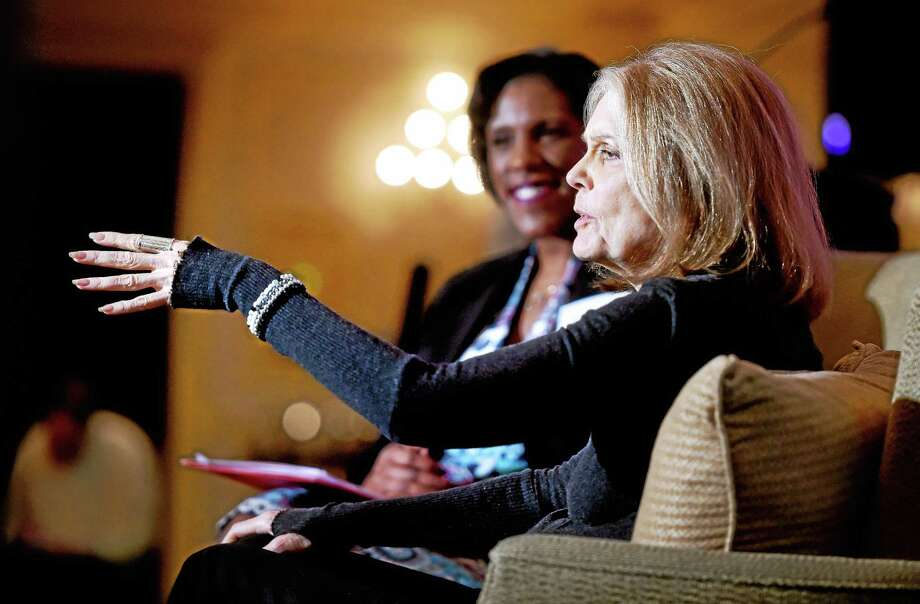 Gloria Steinem gestures during a conversation with Teresa Younger, background, president of the Ms. Foundation for Women, during the Community Fund for Women & Girls 20th anniversary luncheon at the Omni New Haven Hotel at Yale Friday in New Haven. Photo: Arnold Gold — New Haven Register