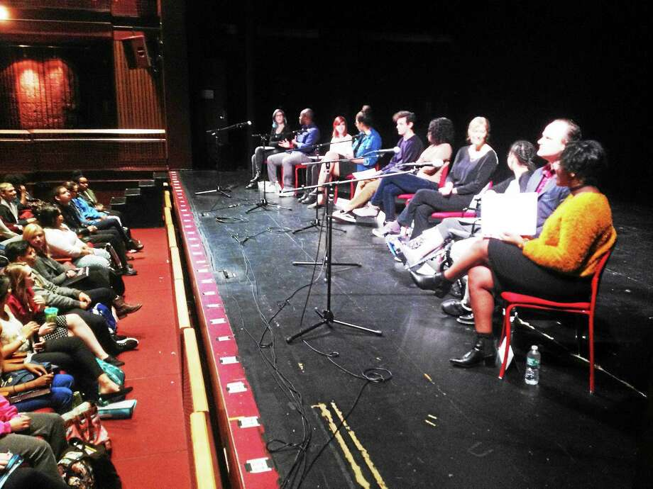 Cooperative Arts and Humanities High School students spoke Tuesday with four writers recognized for contributions to English language literature in fiction, nonfiction and drama by the Yale University Windham Campbell Literature Prize. Photo: Brian Zahn — New Haven Register