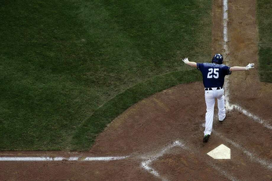 Lewisberry's Chayton Krauss celebrates after driving in the game-winning run off Pearland's Marco Gutierrez in the bottom of the sixth inning of the United States championship game at the Little League World Series on Saturday in South Williamsport, Pa. Photo: Matt Slocum — The Associated Press   / AP