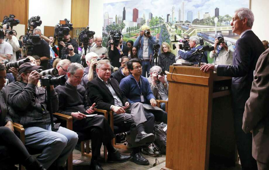 Chicago Mayor Rahm Emanuel begins a news conference about new police procedures on Wednesday, Dec. 30, 2015, in Chicago. Emanuel says every Chicago police patrol car will be equipped with a Taser following a series of high-profile shootings by officers. Photo: AP Photo/Charles Rex Arbogast / AP