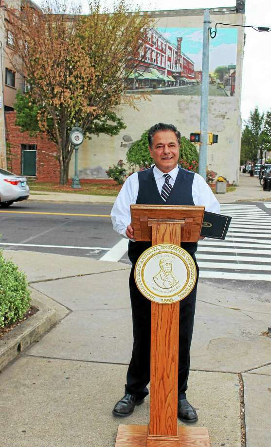 Ansonia Mayor David Cassetti speaks Tuesday about a $50,000 grant that will aid the city in redevelopment initiatives. Photo: Jean Falbo-Sosnovich — New Haven Register