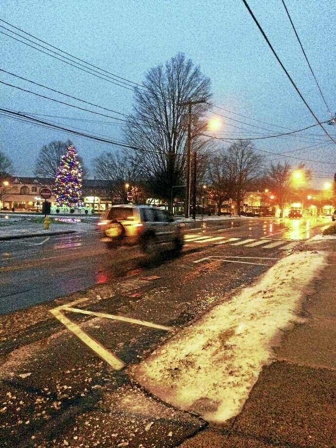 Montowese Street in Branford early Tuesday morning. Freezing rain was making for slippery road conditions around the shoreline. Photo: Register Staff
