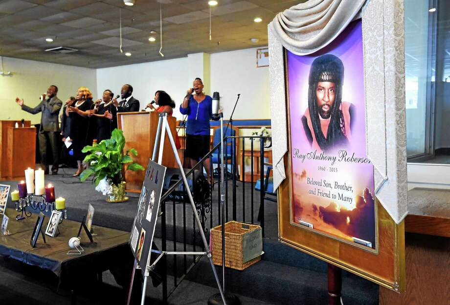 A memorial service for Ray Anthony Roberson was held at Christ Chapel New Testament Church on Dixwell Ave. in New Haven on 8/29/2015. Photo: (Arnold Gold-New Haven Register)