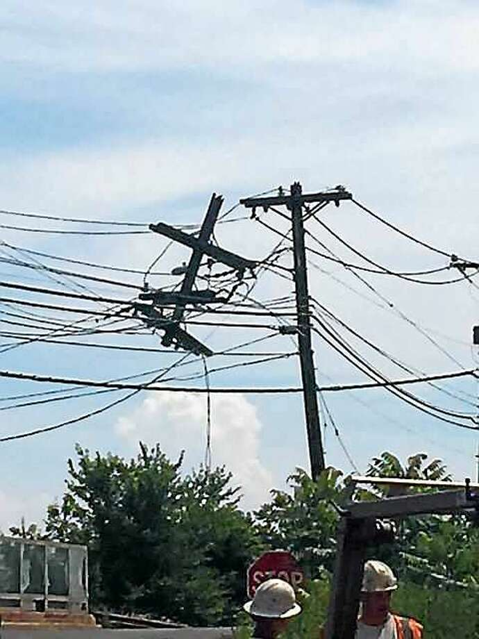 Police say a large area of Branford is without power Wednesday following a construction accident. Photo: Branford Police Department