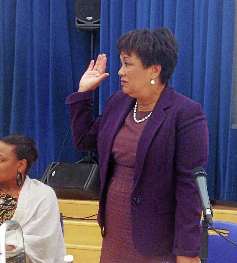 (Brian Zahn - New Haven Register)  Mayor Toni Harp at a Board of Education meeting Photo: Journal Register Co.