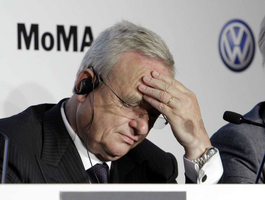 In this May 23, 2011 photo,  Martin Winterkorn, then-CEO of Volkswagen, participates in a news conference at New York's Museum of Modern Art. Photo: AP Photo/Richard Drew   / AP