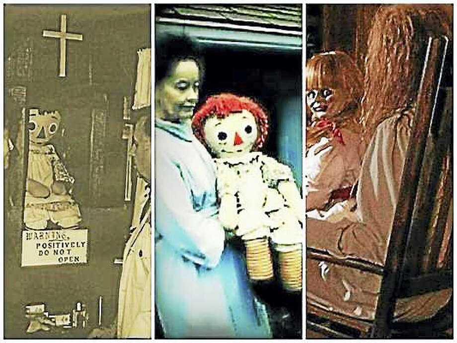 """From left to right: The original Annabelle doll encased for display at Warren's Occult Museum in Monroe, Conn.; Lorraine Warren carries the Annabelle doll; and screenshot of a scene in New Life Cinema's """"Annabelle"""" movie. Photo: Journal Register Co."""