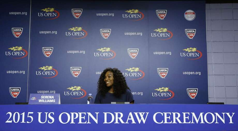 U.S. Open defending champion Serena Williams speaks during a press conference Thursday at the USTA Billie Jean King National Tennis Center in New York. Photo: Kathy Willens — The Associated Press   / AP