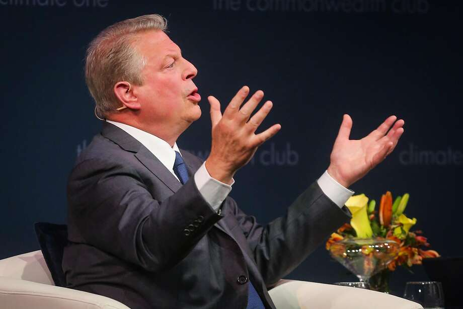 "Former Vice President Al Gore answers a question from the audience during a talk hosted by the Commonwealth Club Monday ahead of the Bay Area release of his new documentary, ""An Inconvenient Sequel: Truth to Power."" Photo: Gabrielle Lurie, The Chronicle"